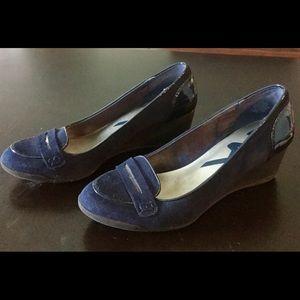 Anne Klein navy loafer wedges